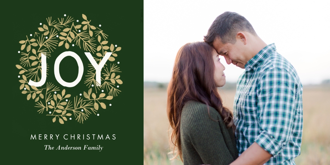 Christmas Photo Cards Flat Matte Photo Paper Cards with Envelopes, 4x8, Card & Stationery -Joy & Wreath Christmas Photo Card by Hallmark