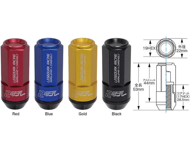 Project Kics Leggdura Racing Black 53mm M12 x P1.25  (CL53) Shell Type Lock & Nut Set