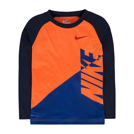 Nike Little & Big Boys Long Sleeve T-Shirt, 7 , Orange