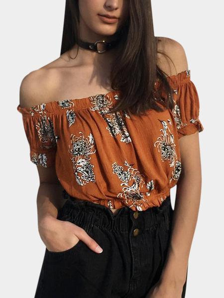 Yoins Rust Pleated Design Floral Print Off The Shoulder Short Sleeves Drawstring Waist Crop Top