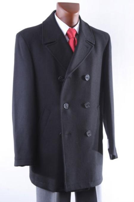 Mens Double Breasted Luxury Wool Peacoat