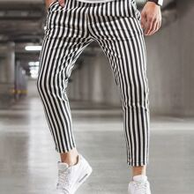 Men Vertical Striped Tapered Pants