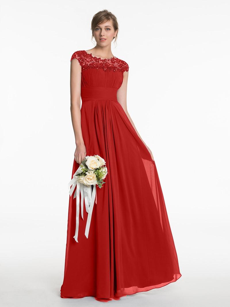 Ericdress Cap Sleeve Beading Lace Bridesmaid Dress