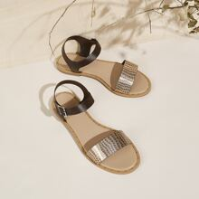 Open Toe Buckle Strap Flat Sandals