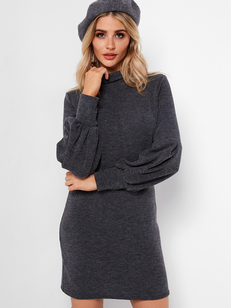 Yoins Black Roll Neck Lantern Sleeves Sweater Dress