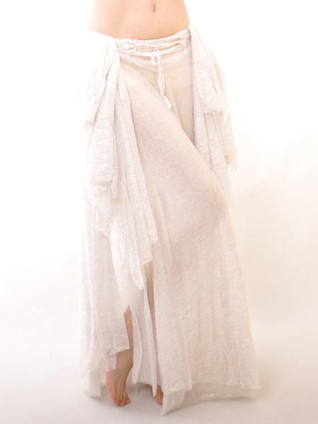 Milanoo Disfraz Halloween Falda de danza de vientre de seda elastica blanca Halloween