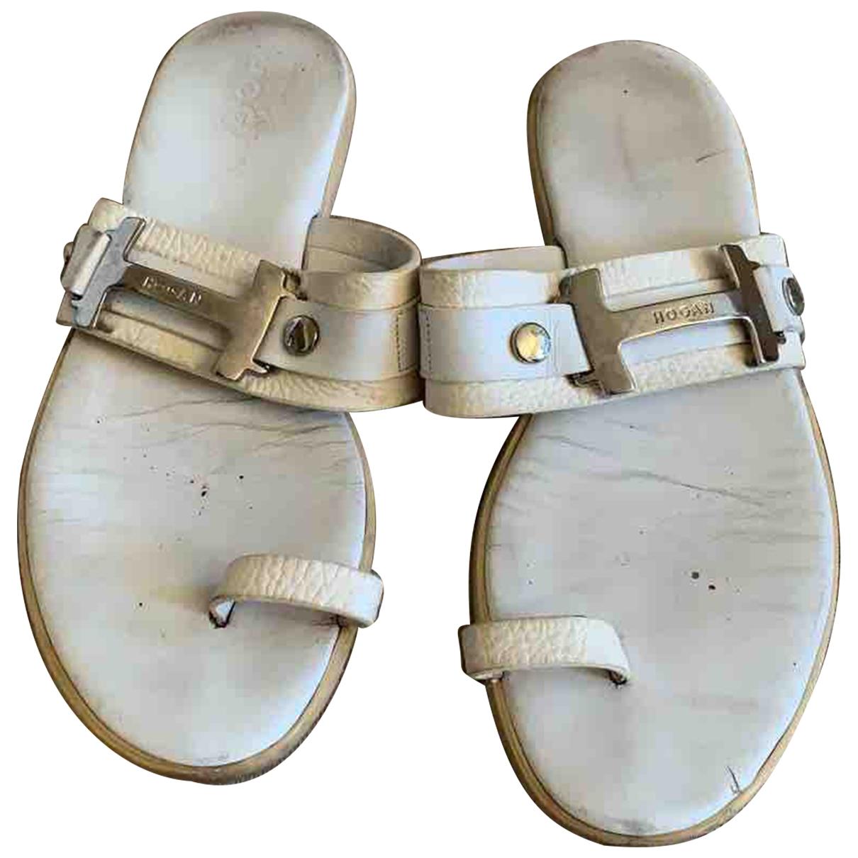 Hogan - Sandales   pour femme en cuir - blanc