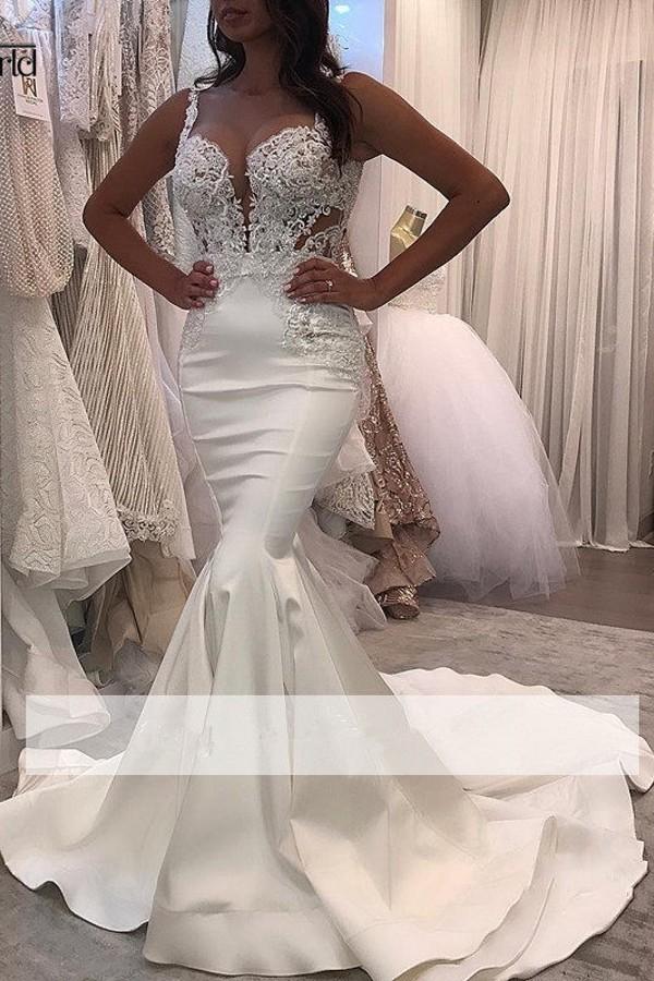 Elastic Satin Sleeveless White Mermaid Court Train Evening Dress