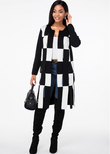 Long Sleeve Contrast Open Front Cardigan - L