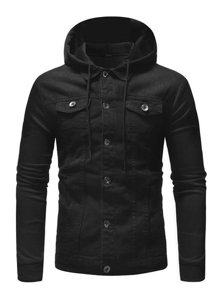 Milanoo Men Hooded Jacket Distressed Pocket Jersey Patch Front Button Western Style Denim Jacket