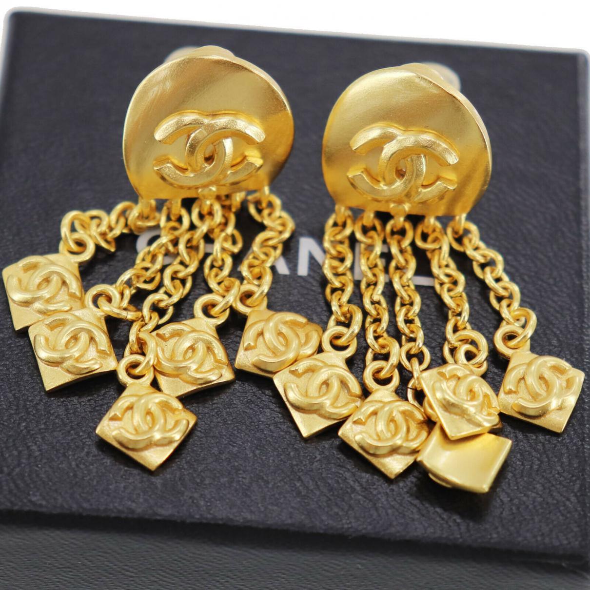 Chanel N Gold plated Earrings for Women N