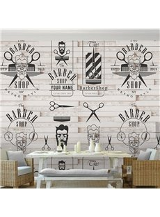 3D Barber Shop Logos on Brick Background Sturdy Waterproof Eco-friendly Wall Mural