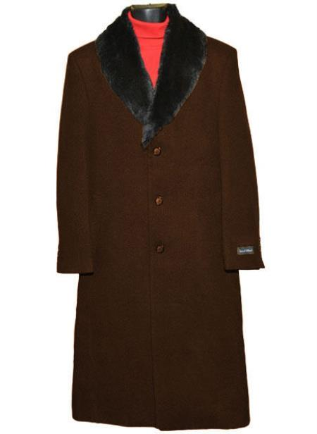 Men's  Fur Collar 3 Button Breasted Wool Full Length Overcoat Brown