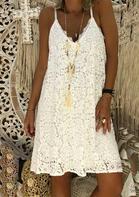 Lace Splicing V-Neck Spaghetti Strap Mini Dress - White