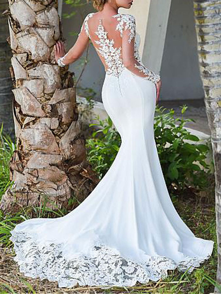 Milanoo Wedding Dresses Jewel Neck Long Sleeves Lace Mermaid Bridal Dresses With Gown