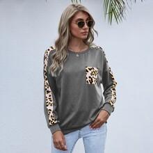 Pullover mit Taschen vorn und Kontrast Leopard Muster