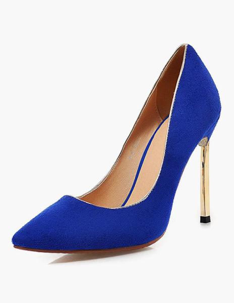 Milanoo Women Blond Glitter Stiletto Pointy Toe Heels Shoes