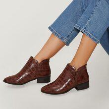 Croc Embossed Leather Zip-Up Low Heel Boots