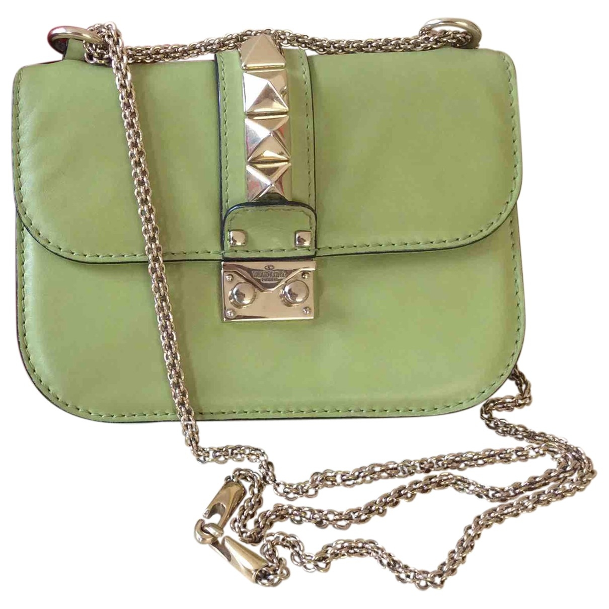 Valentino Garavani - Sac a main Glam Lock pour femme en cuir - vert