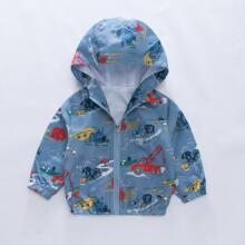 Toddler Boys Cartoon Graphic Hooded Windbreaker Jacket
