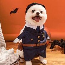 3pcs Halloween Police Dog Costume Set