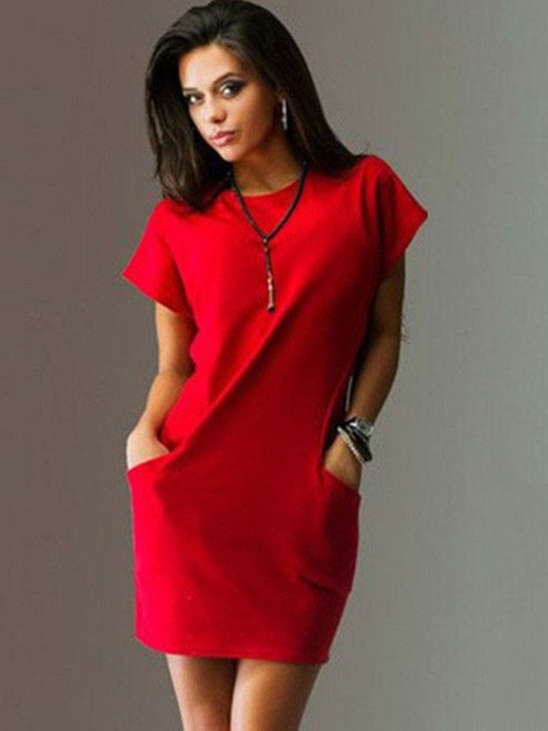 Ericdress Pocket Above Knee Round Neck Bodycon Summer Dress
