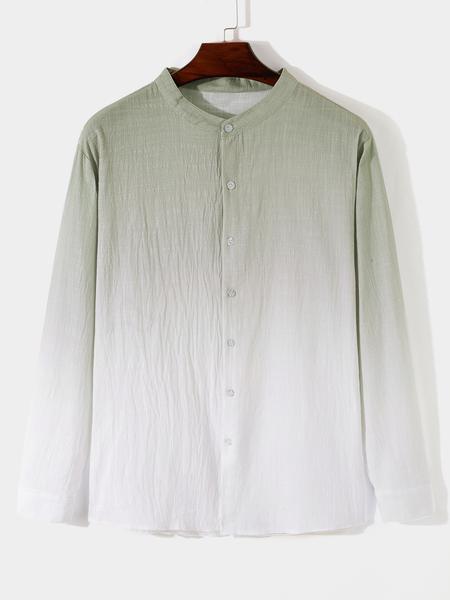 Yoins Men Fall Stand Collar Gradient Long Sleeve Casual Fashion Shirt