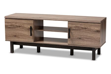 MH8233-Safari Oak/Ebony-TV Baxton Studio Arend Modern and Contemporary Two-Tone Oak and Ebony Wood 2-Door TV