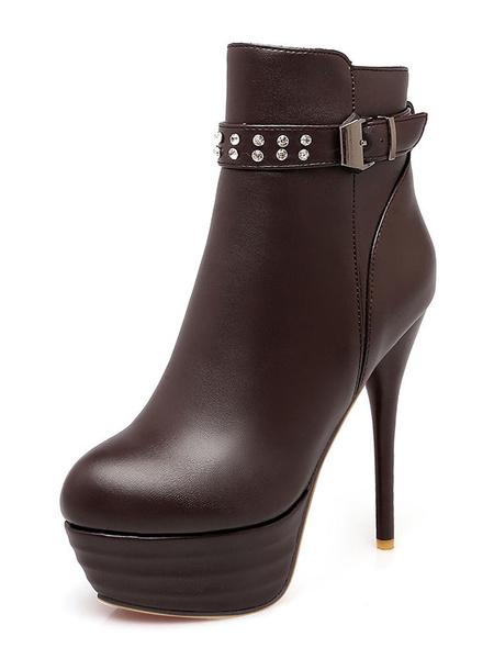 Milanoo Brown Ankle Boots Women High Heel Booties Platform Round Toe Rhinestones Booties
