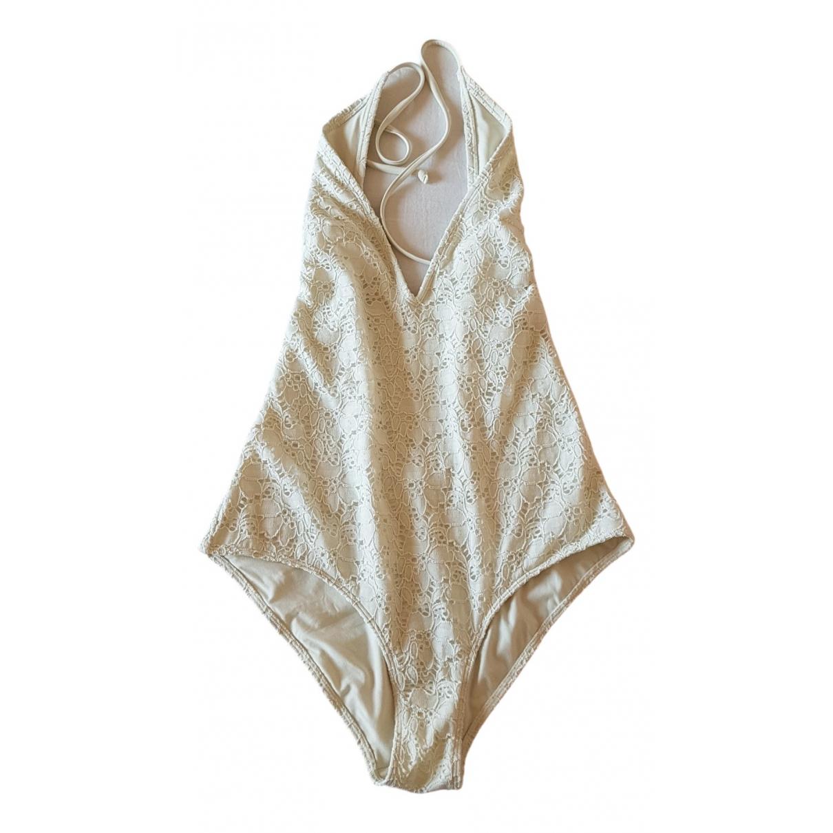 - Bain   pour femme en coton - elasthane - blanc