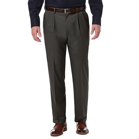 Haggar Premium Comfort Dress Pant Classic Fit Pleated, 40 30, Black