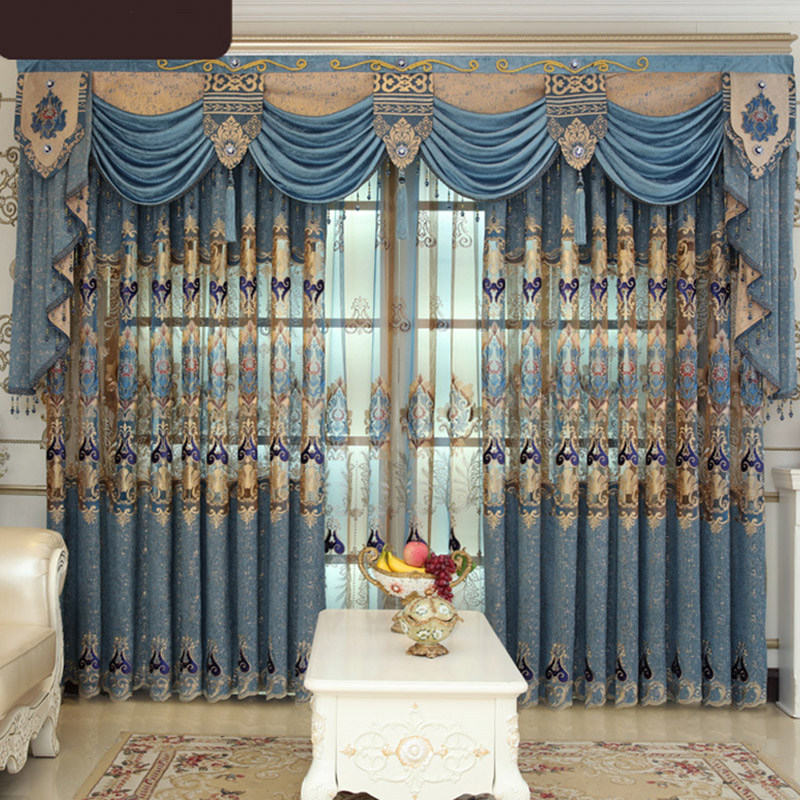 European Luxury Embroidered Hollowed-out Custom 2 Panels Blackout Curtain Drapes for Living Room No Pilling No Fading No off-lining