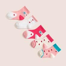 5 Paare Kleinkind Socken mit Herzen Muster