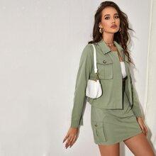 Flap Pocket Zip Up Jacket & Skirt Set