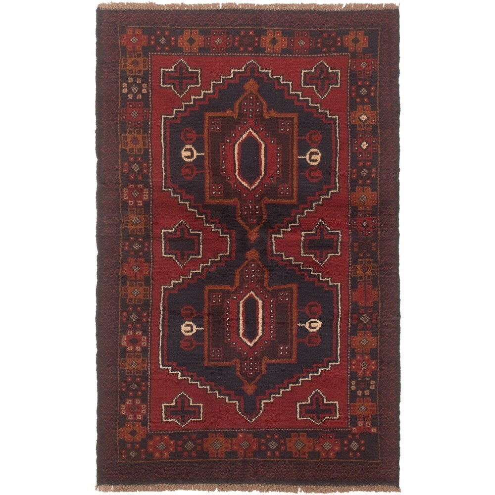 ECARPETGALLERY Hand-knotted Teimani Red Wool Rug - 3'3 x 6'2 (Red - 3'3 x 6'2)