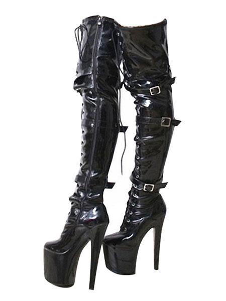 Milanoo Red Sexy Boots Women Platform Buckle Detail Zip Up Over The Knee Boots High Heel Thigh High Boots