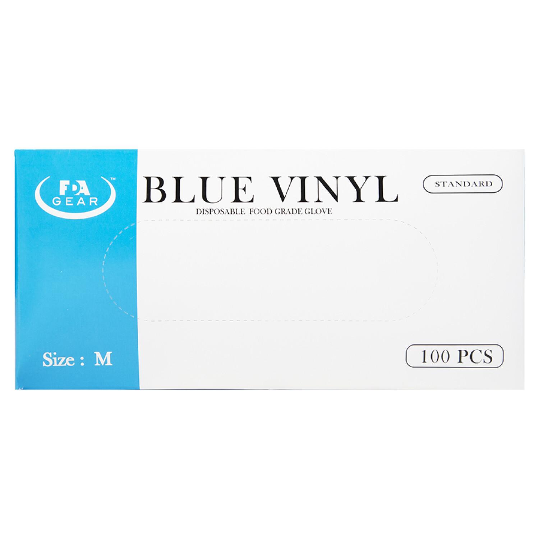 FDA Gear Blue Vinyl Gloves Box of 100 Medium