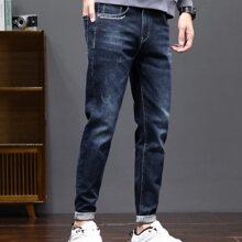 Men Slogan Embroidery Tapered Jeans
