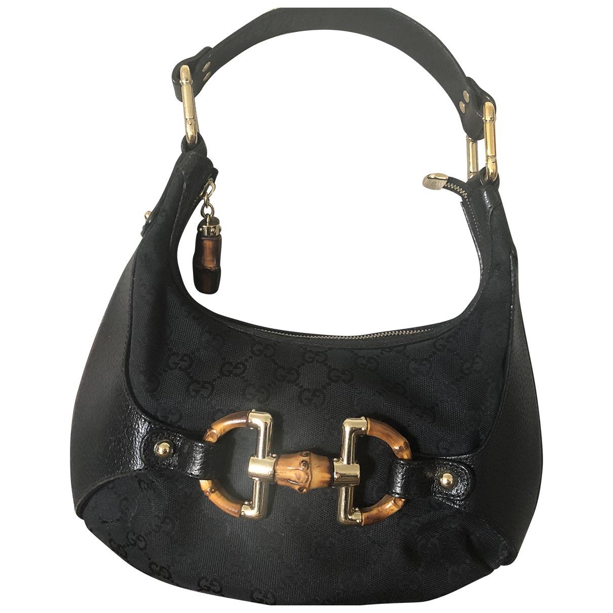 Gucci Bamboo Black Cloth handbag for Women N