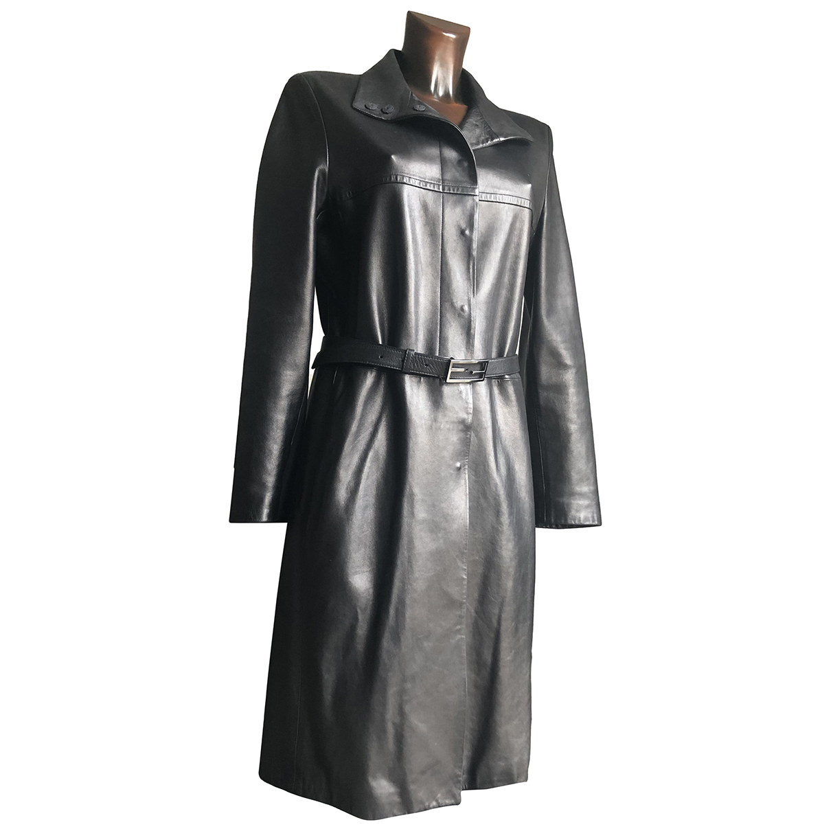 Fendi - Manteau   pour femme en cuir - noir