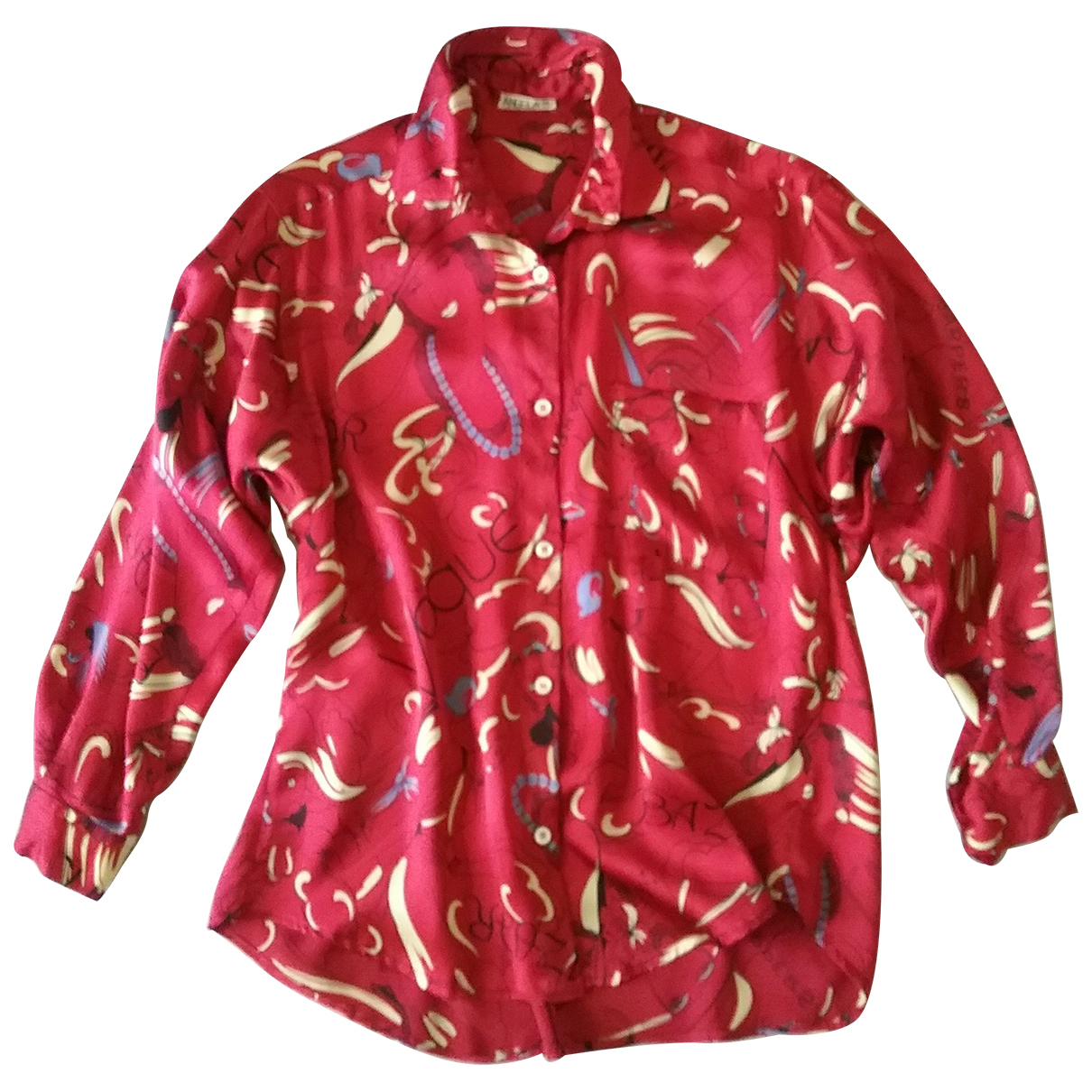 Non Signé / Unsigned \N Burgundy Silk  top for Women 42 IT