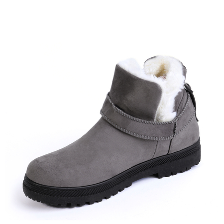 Yoins Grey Belt Decorated Fur-lined Warm Snow Boots