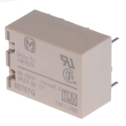 Panasonic , 5V dc Coil Non-Latching Relay DPNO, 8A Switching Current PCB Mount