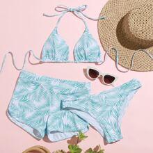 3pack Palm Print Triangle Halter Bikini Swimsuit