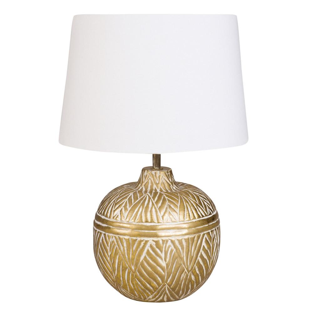 Kugelformige Lampe aus goldfarbenem Metall mit weissem Lampenschirm
