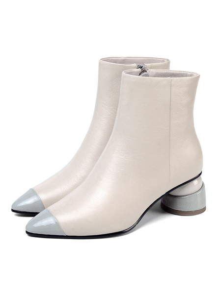 Milanoo Women Ankle Boots Cowhide Leather Pointed Toe Special-Shaped Heel 2 Booties