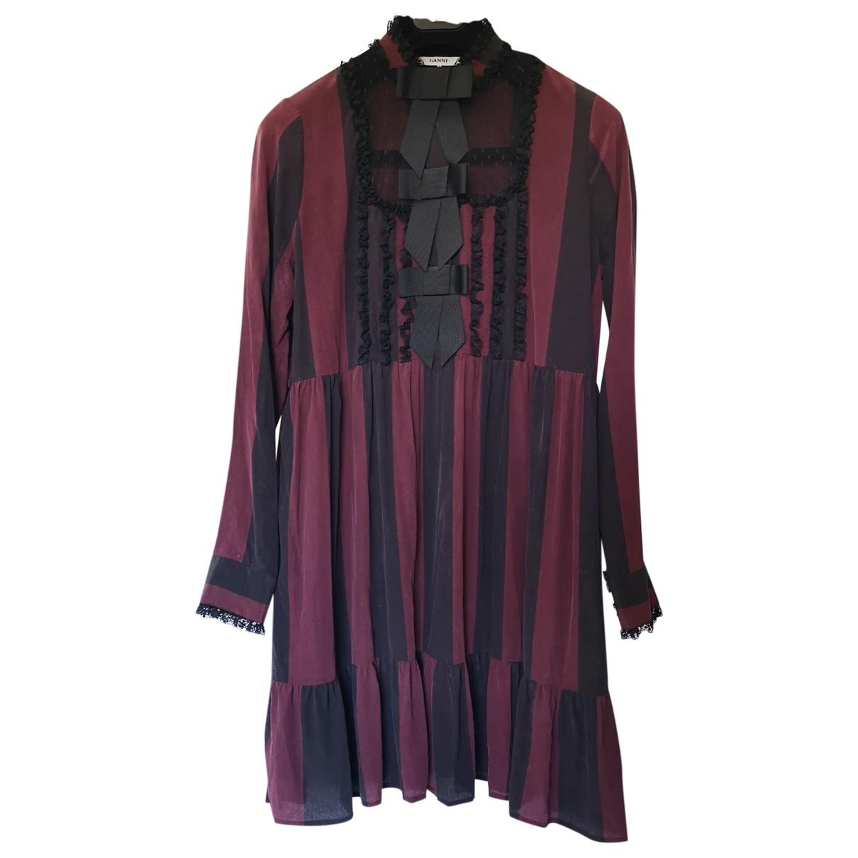 Ganni - Robe   pour femme en soie - bordeaux