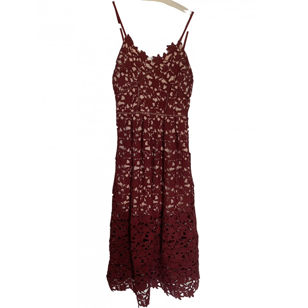 Non Signé / Unsigned Hippie Chic Burgundy Lace dress for Women 36 FR