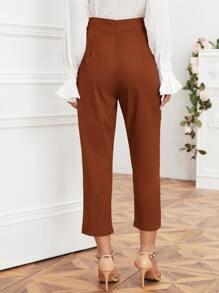 Solid Self Tie Cropped Pants