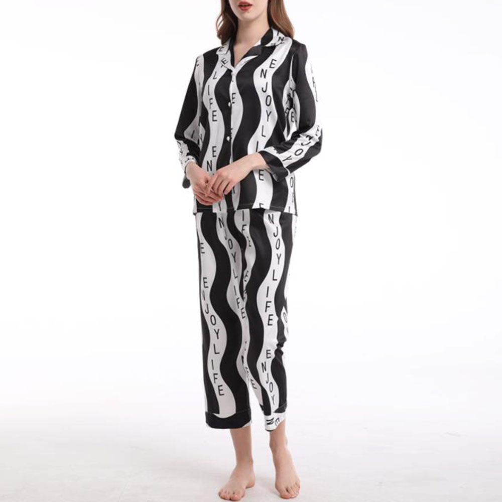 Simple Polyester Color Block Print Regular Women's Pajama Suit Sleepwear Set